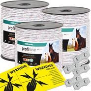 Corde per recinto elettrico VOSS.farming 3 pz, 200 m, 6x0,25 HPC® + connettori 5 pz + cartello di pericolo
