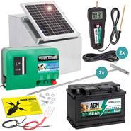 Set Completo: Elettrificatore GreenEnergy da 12 V + modulo solare da 12 W + Scatola metallica + Batteria AGM