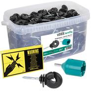"""Kit """"Starter Box XL"""" VOSS.farming: Isolatore ad anello 260 pz + Mandrino in plastica + Cartello di pericolo"""