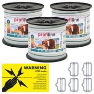 Nastro per recinto elettrico, 200 m, 40 mm, 4 rame + 6 acciaio inox, 3 pz, bianco/verde, incl. connettori & cartello di pericolo
