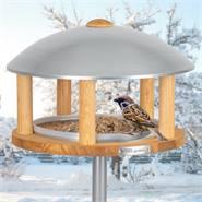 """Mangiatoia a casetta per uccellini  """"Kolding"""" -in legno con tettuccio in metallo zincato, piedistallo incluso"""