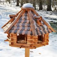 """Casetta per uccellini """"Herbstlaub"""" VOSS.garden in legno, con piedistallo massiccio - Altezza totale 1,45m!"""