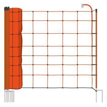 Rete elettrificabile per recinzione per Pecore VOSS.farming BASIC, 50 m, 108 cm, 2 punte, arancione