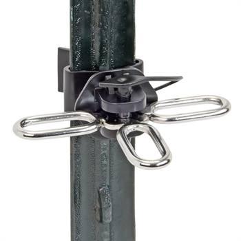 Isolatori per cancello, 3 occhielli, per palo a T VOSS.farming (con dispositivo di sospensione in acciaio inossidabile) 2 pz.