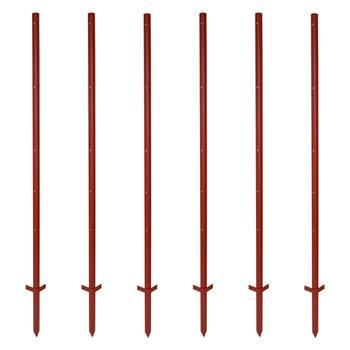40 pz. pali con profilo angolare in acciaio, 165 cm, 3 mm, 5 fori e poggiapiede doppio