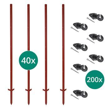 Set VOSS.farming: 40 pz. pali con profilo angolare in acciaio, 165 cm, 3 mm + 200 pz. isolatori (con copiglia)