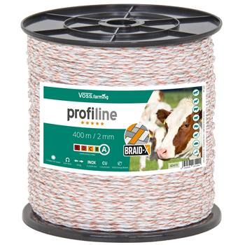 Filo polywire per recinto elettrico VOSS.farming BRAID X 400 m, 2 x 0,20 acciaio inossidabile + 1 X 0,25 rame, bianco/arancione