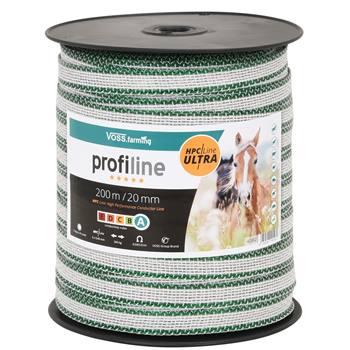 Nastro per recinti elettrici VOSS.farming 200 m, 20 mm, 6 x 0,40 HPC/Ultra, bianco-verde