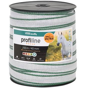 Nastro per recinti elettrici VOSS.farming 200 m, 40 mm, 10 x 0,40 HPC/Ultra, bianco-verde