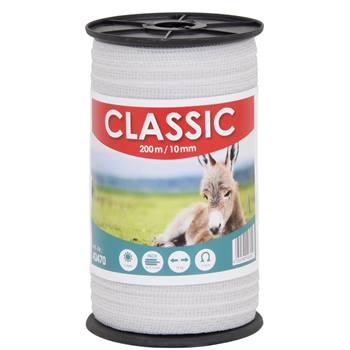 """Nastro per recinti elettrici """"CLASSIC"""" 200 m, 10 mm, 4 x 0,16 acciaio inossidabile, bianco"""