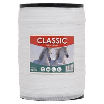 """Nastro per recinti elettrici """"CLASSIC"""" 200 m, 40 mm, 8 x 0,16 acciaio inossidabile, bianco"""