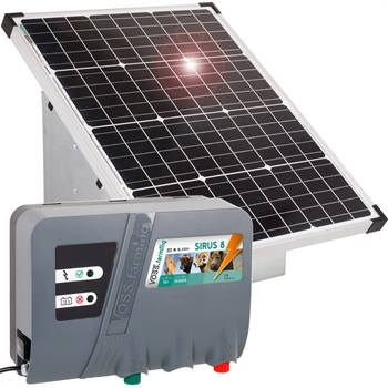 Kit Elettrificatore 12 V SIRUS 8 ad Energia Solare VOSS.farming + Pannello 55W + Scatola