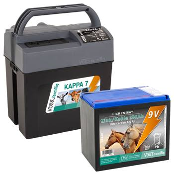 """Elettrificatore da 9 V, 12 V, 230 V """"KAPPA 7"""" VOSS.farming + batteria High Energy da 130 Ah, due livelli di potenza"""