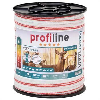 Nastro per recinto elettrico 200 m, 20 mm, 1x0,3 rame + 5x0,2 acciaio inossidabile, bianco/rosso 3***