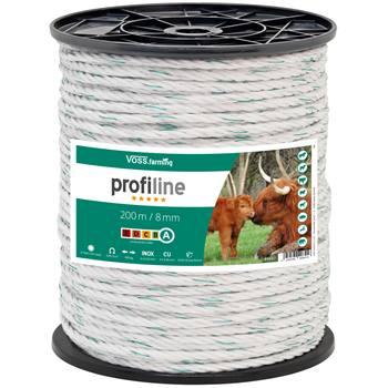 Corda per recinto elettrico 200 m 8 mm, 4x0,30 rame + 4x0,3 acciaio inossidabile, bianco/verde 5*****