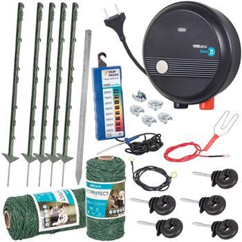 """Kit completo per recinto elettrico VOSS.PET, per cani e gatti, con elettrificatore VOSS.PET """"Fenci M09""""220 V, verde"""