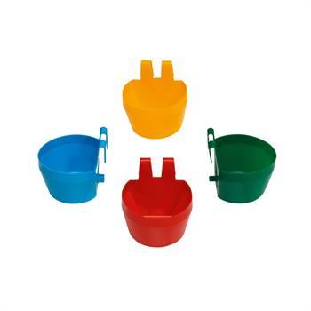 Vaschetta per pollame 300 ml per gabbie da esposizione, rosso, blu, giallo, verde