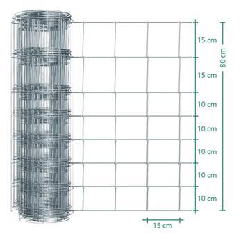 Rete metallica annodata Premium Plus per recinto per animali selvatici VOSS.farming, 50m, altezza 80cm - 80/08/15