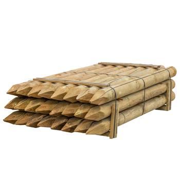 24 pz. Pali tondi in legno VOSS.farming per recinzioni, staccionate, impregnati sotto pressione in classe 4, 200 cm x 140 mm