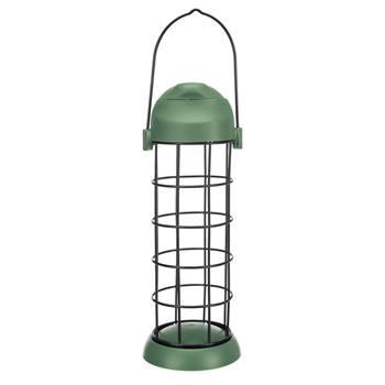 Distributore di polpette di sego per uccelli, per 3 polpette, metallo/plastica, Ø 8 x 22cm, verde