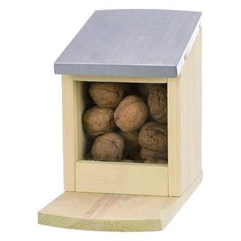Mangiatoia per scoiattoli, legno di pino/metallo, 12 x 18 x 24 cm